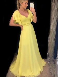 Beautiful A-Line V Neck Ruffle Sleeve Yellow Chiffon Long Prom Dresses with Train,Elegant Evening Party Dresses