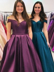 Classic A-Line Off the Shoulder Lace-up Back Purple Satin Long Prom Dresses with Pockets