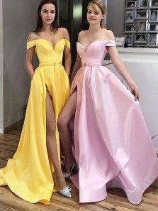 Elegant A-Line Off the Shoulder Open Back Yellow Satin Long Prom Dresses with High Split