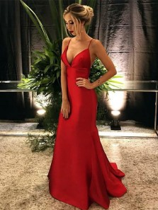 Classy Mermaid Spaghetti Straps V Neck Open Back Red Satin Long Prom Dresses,Simple Evening Dresses Under 100