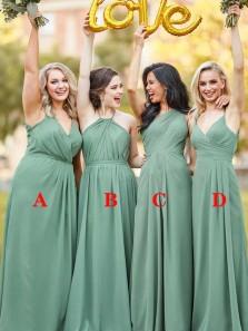 Elegant A-Line 4 Styles Sage Green Chiffon Long Bridesmaid Dresses Under 100