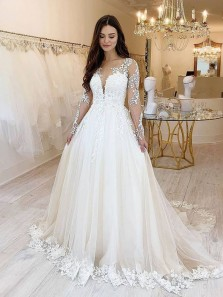 Elegant A-Line Long Sleeve Tulle Lace Wedding Dresses