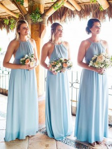 Simple A-Line Halter Open Back Sky Blue Chiffon Long Bridesmaid Dresses Under 100