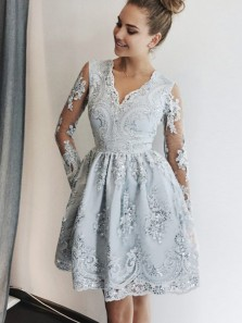 Cute A-Line V Neck Long Sleeve Grey Short Prom Dresses,Cocktail Party Dresses DG1223007