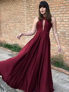 New arrival A-Line Halter Open Back Burgundy Chiffon Long Prom Dresses,Evening Party Dresses