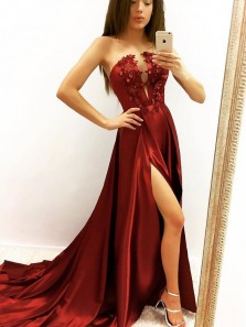 Modest A-Line Strapless Open Back Dark Red Satin Long Prom Dresses with Appliques,Formal Party Dresses
