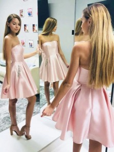 Simple A-Line Strapless Open Back Pink Satin Short Prom Dresses with Pockets,Short Homecoming Dresses with Beaded
