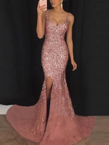 Luxurious Mermaid Sweetheart Open Back Blush Pink Beaded Long Prom Dresses,Charming Evening Party Dresses with Split