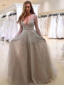 Sparkly A-Line Deep V Neck Long Sleeved Grey Tulle Long Prom Dresses with Beading,Formal Evening Party Dresses