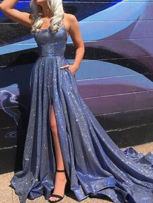 Sparkly A-Line Scoop Neck Criss Cross Back Navy Blue Sequins Satin Long Prom Dresses with Split,Glitter Formal Party Dresses