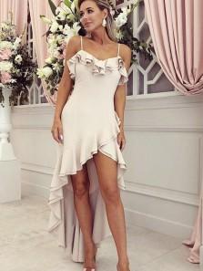 Stylish A-Line Spaghetti Straps High Low Blush Satin Bridesmaid Dresses,Prom Dresses with Ruffles