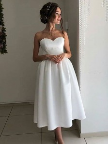 Simple A-Line Sweetheart Open Back White Satin Ankle Length Wedding Dresses
