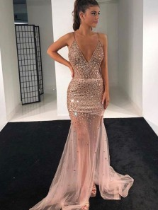 Sparkly Mermaid V Neck Spaghetti Straps Open Back Blush Tulle Long Prom Dresses with Beading,Formal party Dresses
