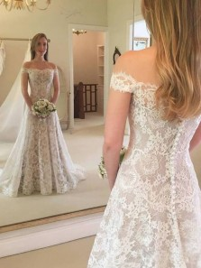 Elegant A-Line Off the Shoulder Ivory Lace Wedding Dresses with Train