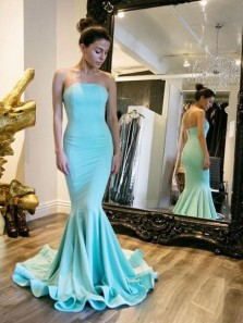 Simple Prom Dresses,Mermaid Strapless Open Back Lake Blue Satin Long Prom Dresses with Train,Evening Party Dresses 191103001