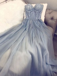 Fairy A-Line Sweetheart Open Back Grey Tulle Long Prom Dresses with Beading,Formal Party Dresses