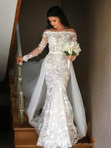 Glamorous Mermaid Off the Shoulder Long Sleeve White Lace Tulle Wedding Dresses 191114001