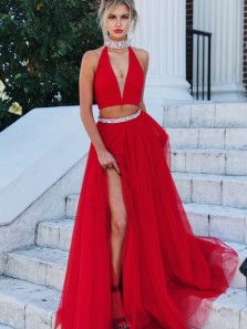 Charming Two Piece A-Line Halter V Neck Open Back Red Tulle Long Prom Dresses,Sexy Evening Party Dresses