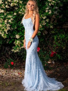 Charming Mermaid Scoop Neck Cross Back Sky Blue Tulle Long Prom Dresses with Appliques,Formal Prom Dresses