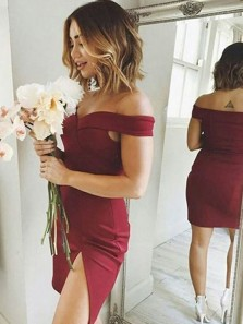 Simple Body con Off the Shoulder Black Burgundy Satin Short Prom Dresses with Split Under 100,Evening Party Dresses