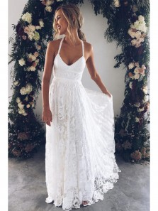 Charming A-line Straps Flowy White Lace Long Wedding Dress with Cross Back