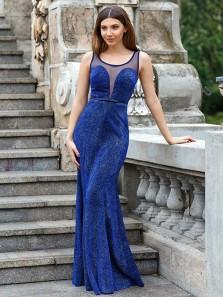 Sparkly Sheath Round Neck Royal Blue Long Prom Dresses,Elegant Evening Party Dresses
