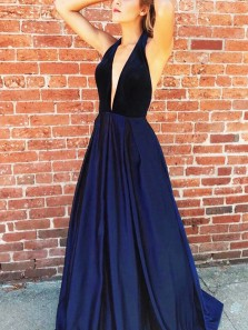 Sexy A-Line V Neck Halter Backless Navy Blue Satin Long Prom Dresses with Velvet Top,Evening Party Dresses