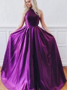 Elegant A-Line Halter Open Back Purple Satin Long Prom Dresses with Pockets,Formal Evening Party Dresses