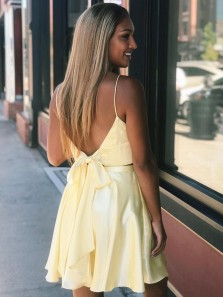 Simple A-Line Two Piece Sweetheart Short Satin Daffodil Homecoming Dresses with Pockets and Split Under 100