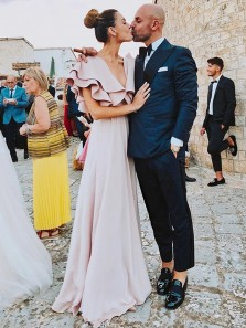 Daily A-Line V Neck Pink Chiffon Long Prom Dresses with Ruffles Belt,Elegant Evening Party Dresses