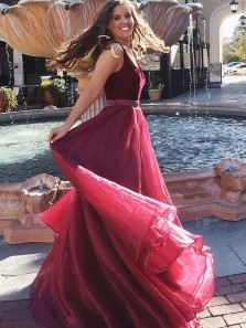 Stunning A-Line V Neck Open Back Burgundy Organza Long Prom Dresses with Beading,Elegant Evening Party Dresses