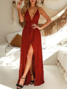 Gorgeous A-Line V Neck Spaghetti Straps Open Back Burgundy Lace Long Prom Dresses with Split,Evening Party Dresses