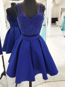 Cute A Line V-Neck Royal Blue Two Piece Homecoming Dress With Beading
