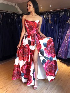 Gorgeous A-Line Scoop Neck Floral Printed Satin Long Prom Evening Dresses with High Split