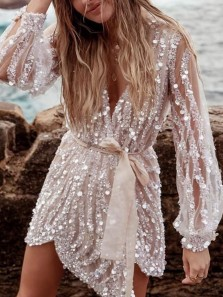 Sexy V Neck Long Sleeve Sequin Mini Evening Party Dresses,Short Formal Homecoming Party Dresses