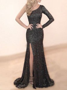 Gorgeous Mermaid One Shoulder Long Sleeve Black Sequins Long Prom Dresses with Side Split,Evening Party Dresses