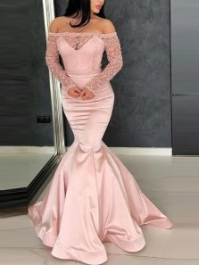 Gorgeous Mermaid Off the Shoulder Long Sleeve Pink Satin Long Prom Dresses with Beading,Formal Party Dresses