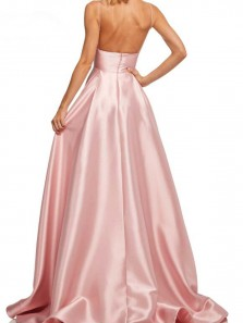 Chic A-Line V Neck Open Back Gold Satin Long Prom Dresses with Pockets,Evening Party Dresses Under 100 DG1226004