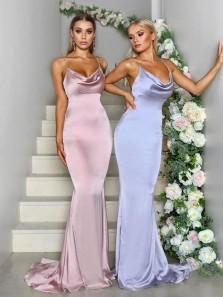 Mermaid Spaghetti Straps Open Back Blush Pink Satin Long Bridesmaid Dresses