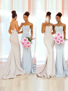 Simple Mermaid Sweetheart Spaghetti Straps Open Back Light Blue Satin Long Bridesmaid Dresses