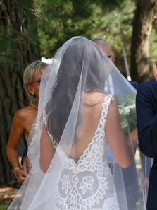 Mermaid V Neck Open Back White Lace Wedding Dresses with Train