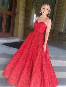 Gorgeous Ball Gown Sweetheart Spaghetti Straps Open Back Red Sequins Long Prom Dresses with Pockets,Formal Party Dresses