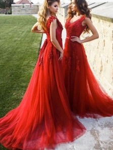 Elegant A-Line V Neck Open Back Red Tulle Long Prom Dresses with Appliques,Formal Evening Party Dresses