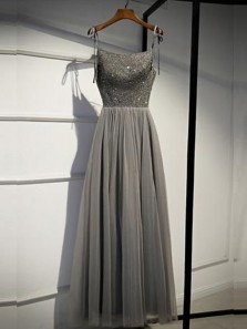 Fairy A-Line Scoop Neck Spaghetti Straps Open Back Grey Tulle Long Prom Dresses with Beading,Formal Graduation Dresses