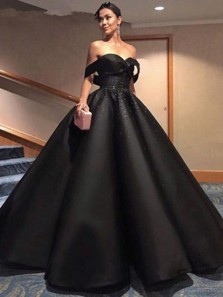 Ball Gown Off the Shoulder Black Satin Long Prom Dresses ,Evening Party Dresses