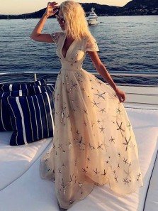 Modest A-Line V Neck Cap Sleeve Champagne Long Prom Dresses,Summer Evening Party Dresses