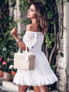 Modern A-Line Square Neck Half Sleeve White Lace Short Homecoming Prom Dresses