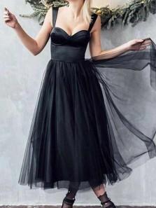 Vintage A-Line Sweetheart Black Tulle Ankle Length Wedding Dresses,Formal Evening Party Dresses