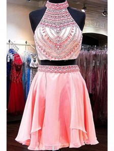 Cute A Line Pink Halter Chiffon Short Homecoming Dress With Beading