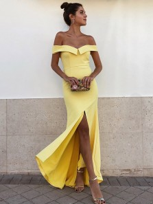 Elegant Sheath Off the Shoulder Yellow Satin Long Prom Dresses with Front Split,Chic Evening Party Dresses